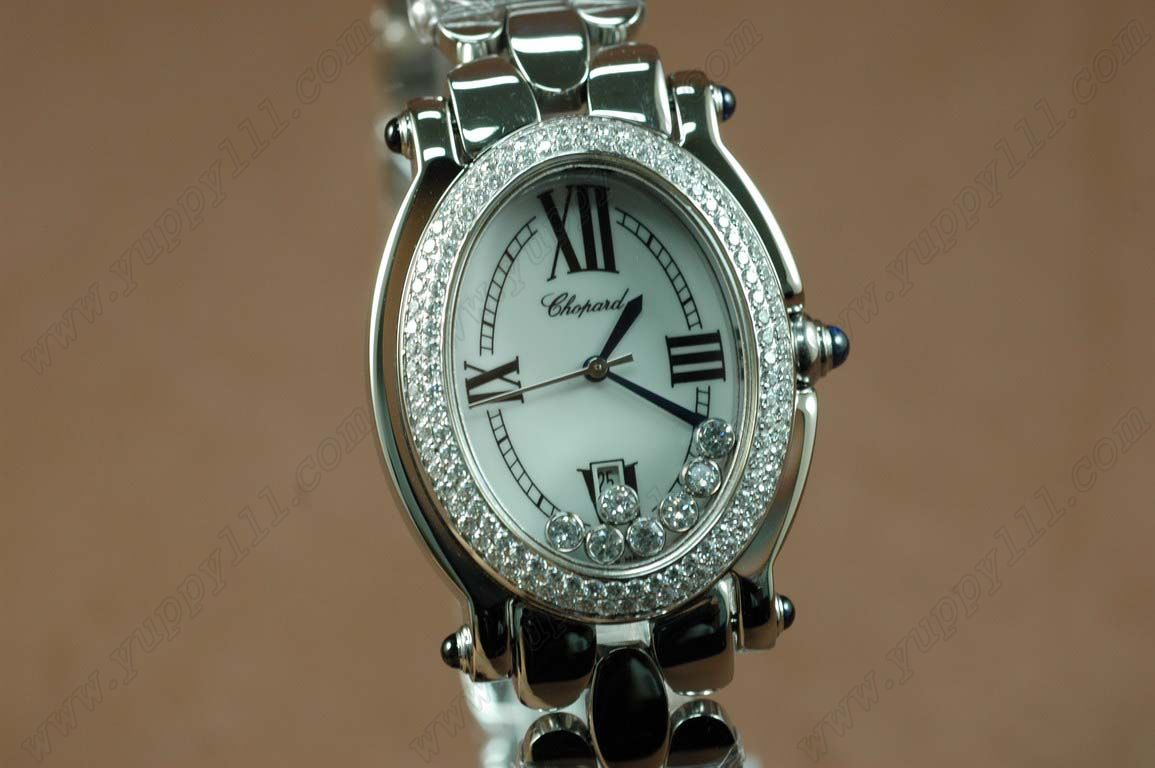 ショパールChopard Watches Happy Sports Oval Ladies Diam/SS White Swiss Quartz腕時計