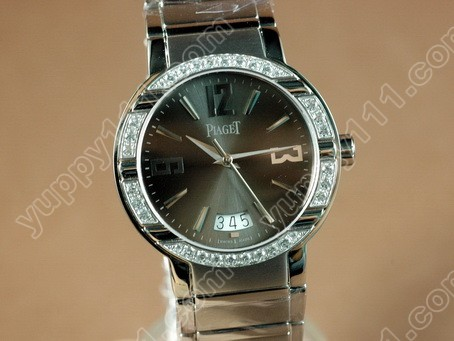 ピアジェPiaget Polo Mens SS/Diamonds Black Swiss Eta 2824-2自動巻き