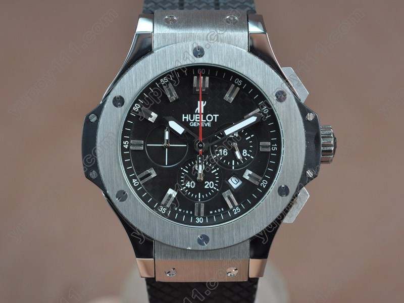 ウブロHublot Big Bang 44mm SS/RU Black Japanese 0S20 Quartz Chronoクオーツストップウォッチ