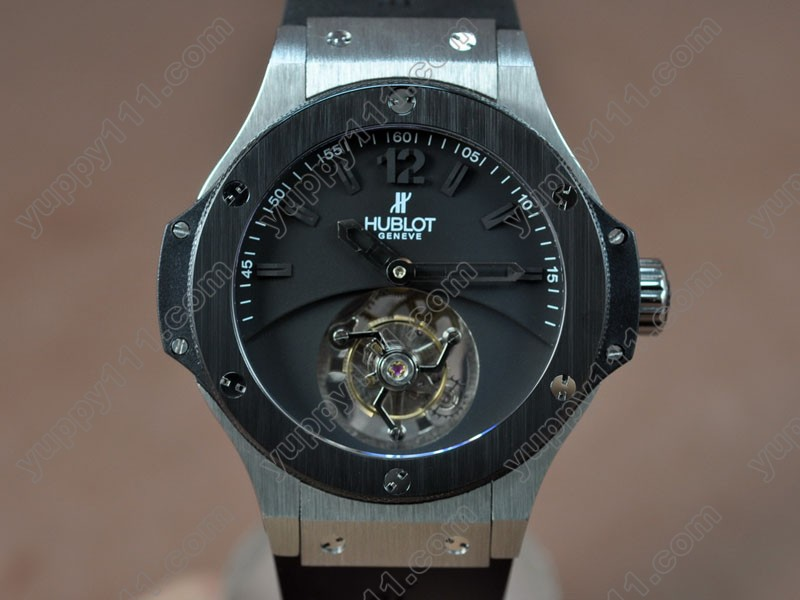 ウブロHublot Aero Band 44mm SS/Ceramic Black Tourbillon Asian Manual Handwind手巻き