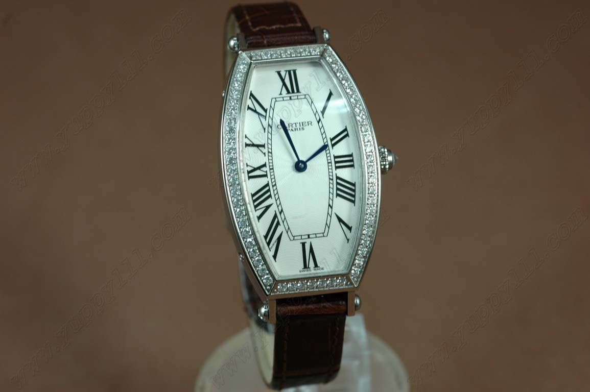 カルティエCartier Jewellery Ladies SS Case Diamond White Dial Brown Strapクオーツ