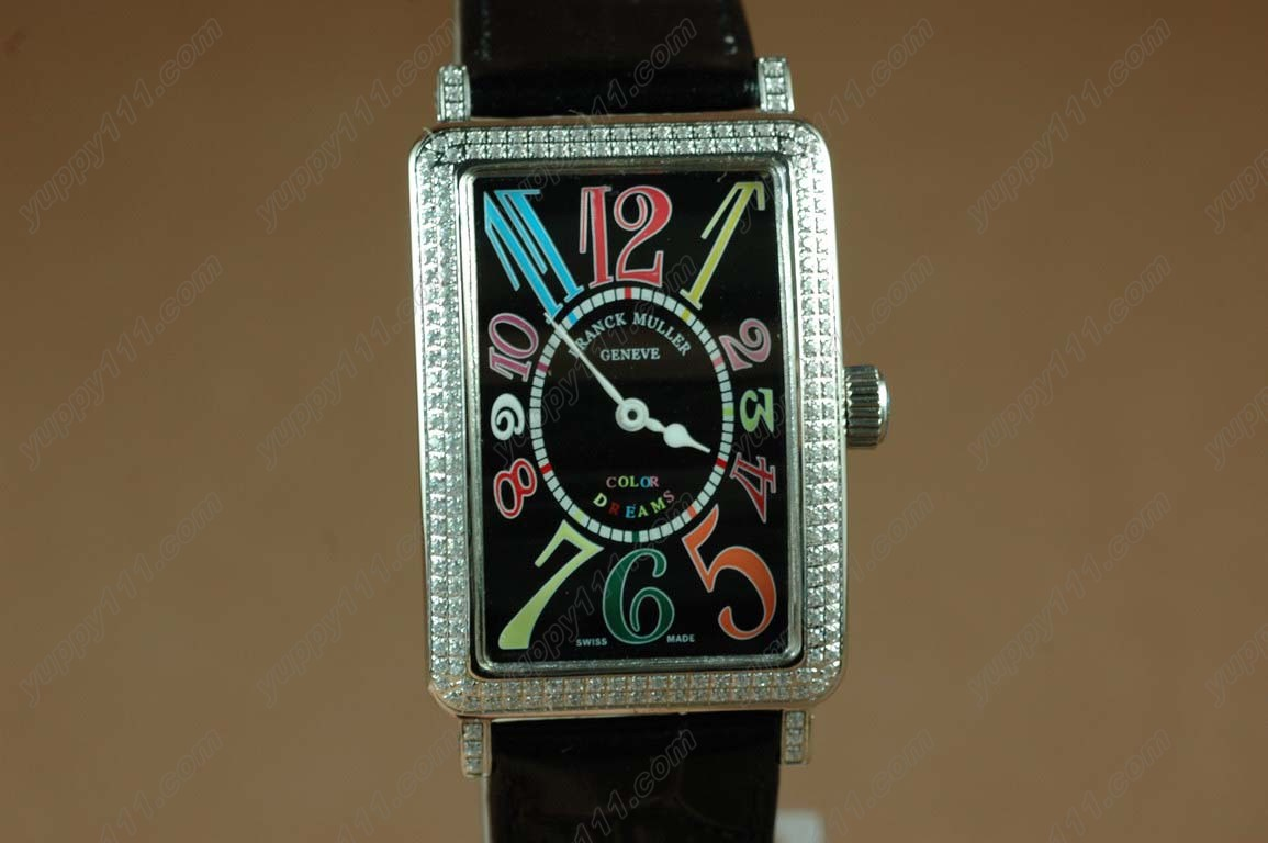 フランクミュラー >Franck Muller Watches Long Island SS Case Diamond Black Dial Black Strap