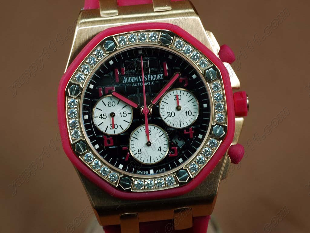 オーデマ・ピゲAudemars Piguet Watches Royal Oak Chrono RG/RU Diamond Bez Pink7750自動巻き