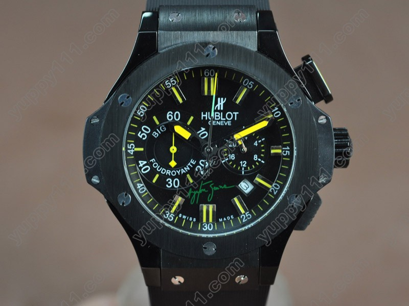 ウブロHublot Big Bang 44mm PVD/RU Black Japanese 0S20 Quartz Chronoクオーツストップウォッチ