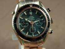 オメガOmega Planet Ocean 45.5mm Chrono RG/RG Black Bezel A-7750自動巻き