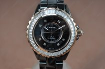 シャネルChanel J12 Joaillerie Ladies Black/Black/Clear Asian 2813自動巻き