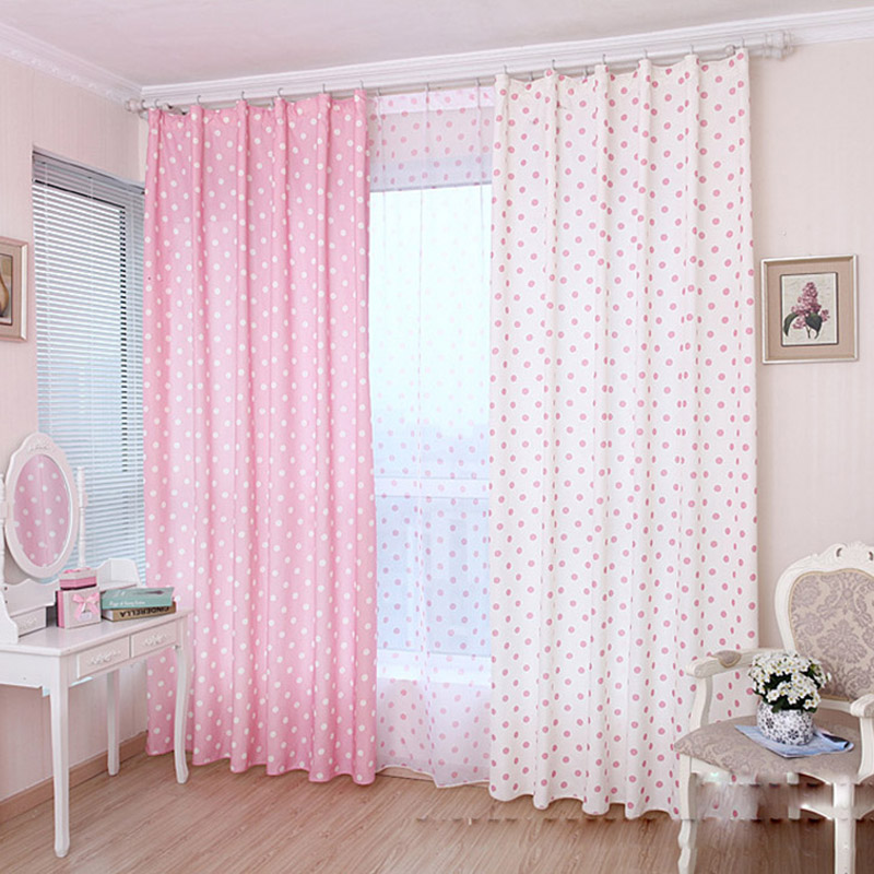 AiFish Colorful Dot Printed Cartoon Blinds Kids Bedroom Semi Blackout  Curtain For Livingroom Bedroom Balcony
