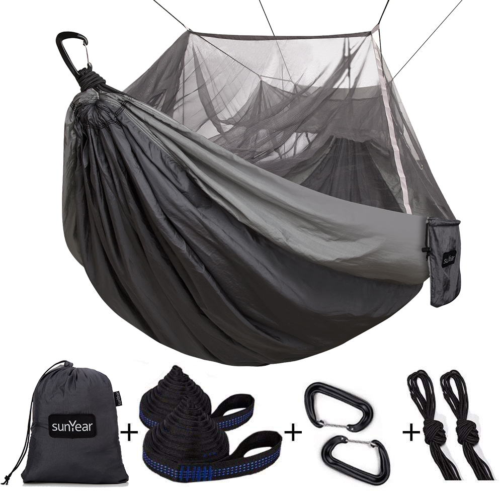 Hammock Tree Straps and Carabiners MIHUNTER Single /& Double Camping Hammock with Mosquito//Bug Net Travel /& More Backpacking Survival Easy Assembly Portable Parachute Nylon Hammock for Camping