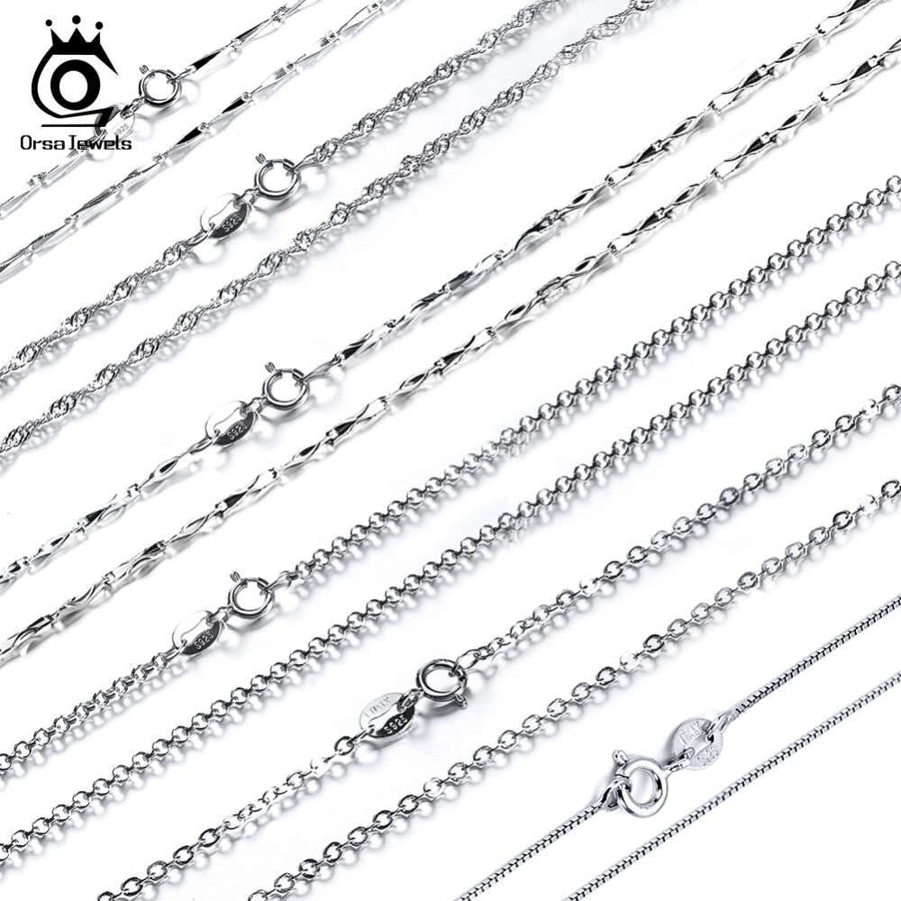 925 Silver Chain >> Real 925 Sterling Silver Necklace Adjustable Necklace Chains Chain Osc01 08