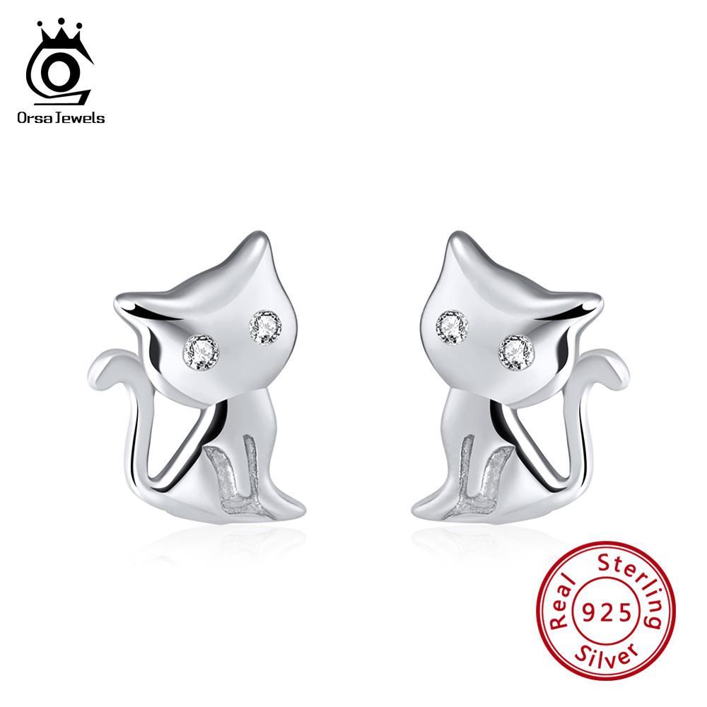 dbcac623c158d Real 925 Sterling Silver Women Stud Earrings Cat Shape Romantic Jewelry  OSE107