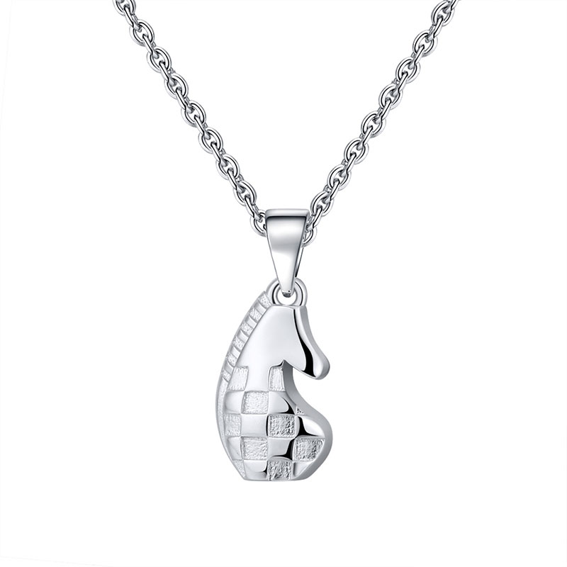 Genuine S925 Sterling Silver Necklaces Vintage Chess Horse Pattern Jewelry