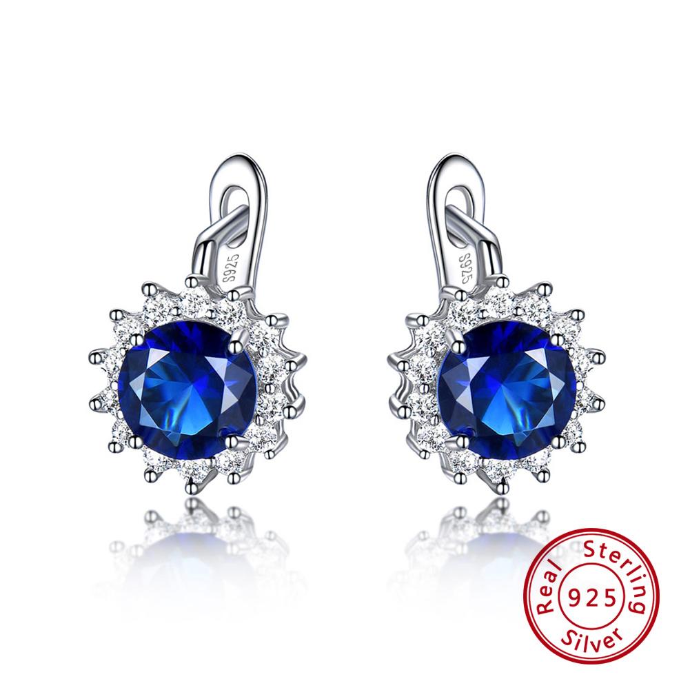 Solid 925 Sterling Silver Hoop Earrings Genuine Created Shire Luxury Jewery Ovse04
