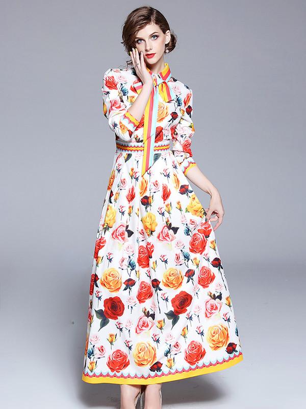 f38e44a041bd Retro Red Floral Maxi Dress - Selerit. Loading zoom