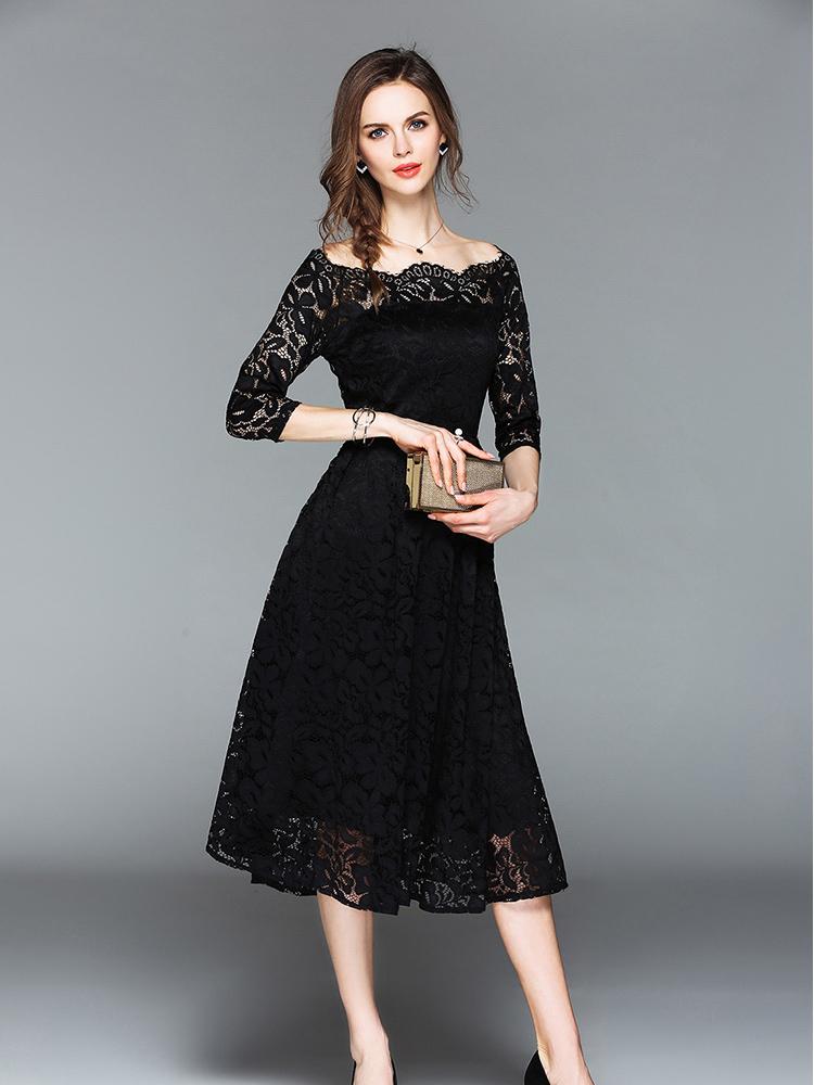 9af6c26e478 Off Shoulder Hollow Out Lace Long Dresses. Loading zoom