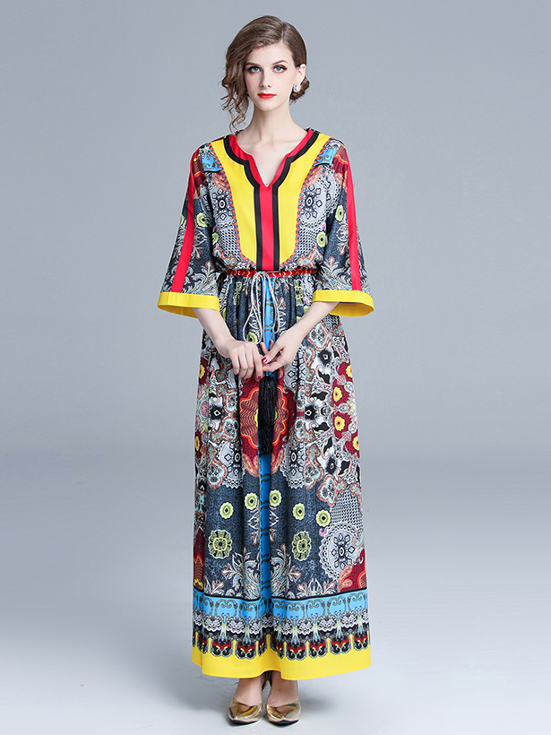 525610678a Vintage V Neck Multicolored Print Maxi Dress. Loading zoom