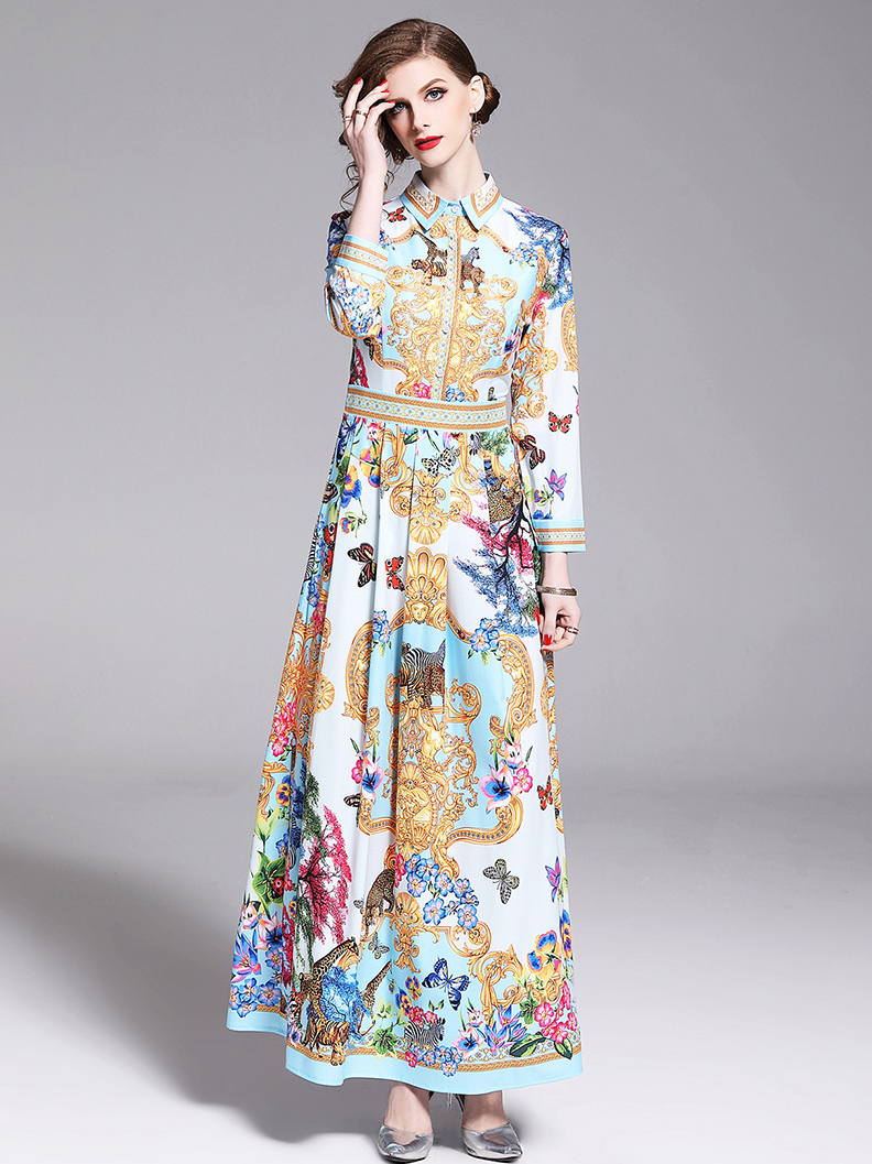 ec506d03e6 Print Turndown Neck Long Sleeve Maxi Dress in Light Blue - Selerit |  selerit.com