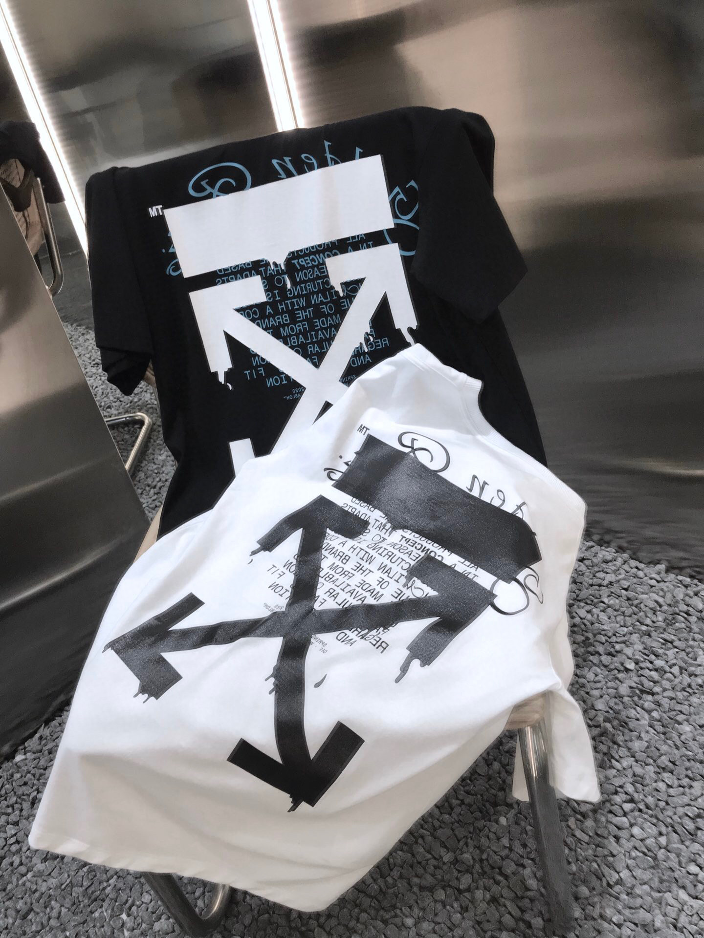 Off White 2020 Dripping Arrows Golden Ratio Stereo Trimmed T-Shirt