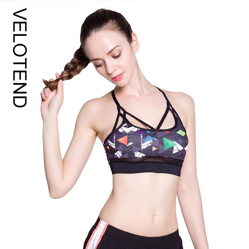 bf43051971e 2018 Fitness Geometric Print Women Sexy Mesh Push Up Cross Strap Quick Dry Breathable  Yoga Training Underwear Pad Sport Bra Tops