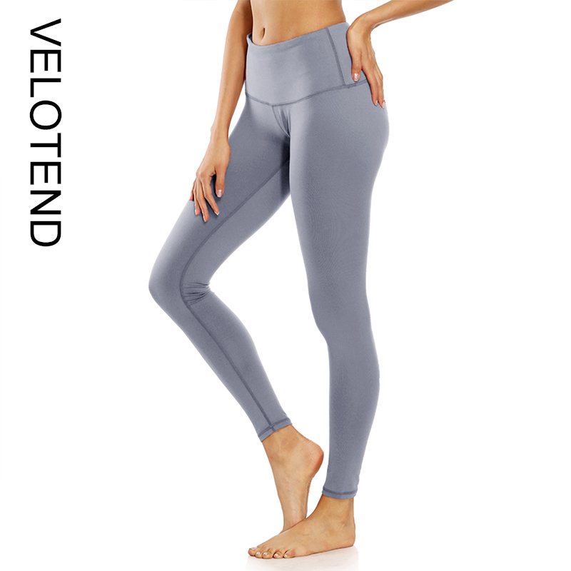 1a4500dd5bc VELOTEND 2018 Women Sport Tight Pants Plus Size 2XL Solid Elastic Waist  Slim Stretch Fitness Yoga Running Gym Exercise Workout Leggings