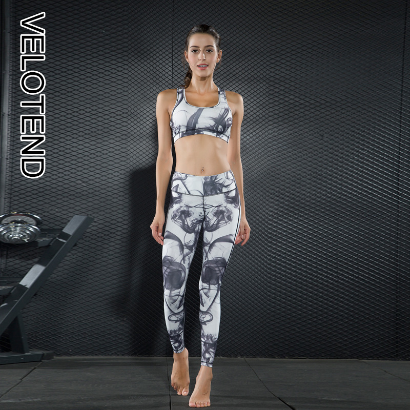 c00507c717 New Sexy Yoga Set Breathable Fitness Suits Elastic Sports Suit Print Gym  Clothing Yoga Bra Pants 2 Pieces Sportswear For Women
