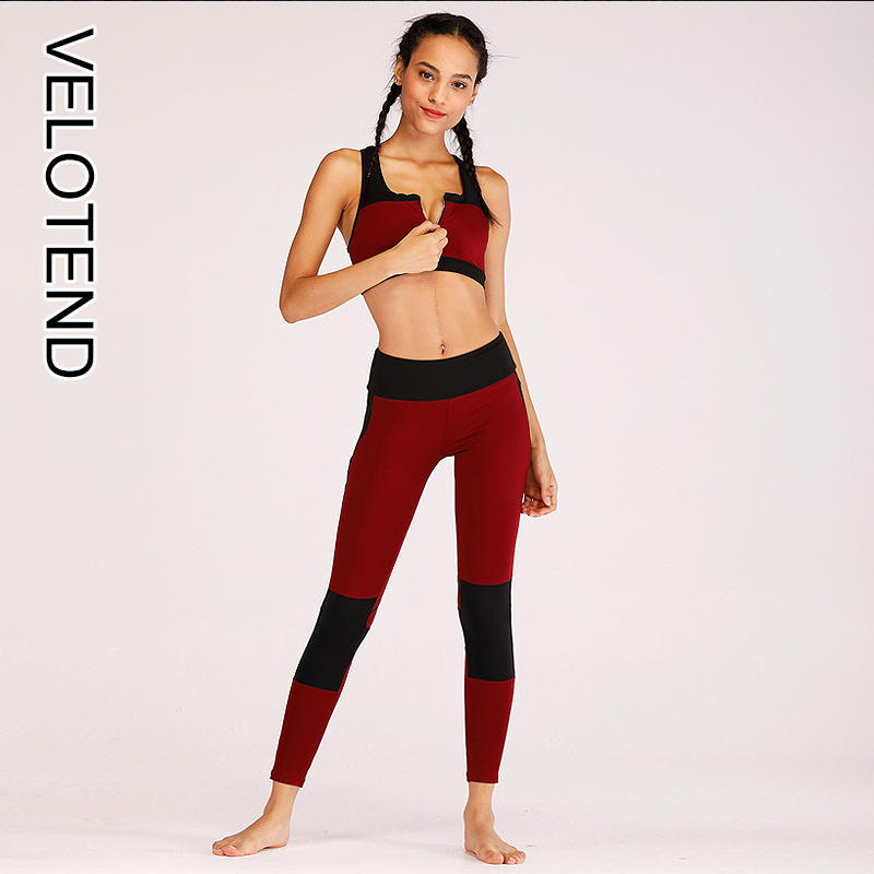 56bdbec39e Fashion Autumn And Winter Tracksuit Women Fitness Suit With Zipper Sports  Suit Patchwork Female Two Piece Set
