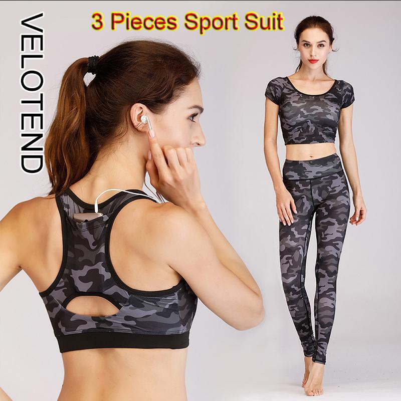 ea39768177 2018 Women Yoga Set High Waist Sports Pants+Sport Bra+T-shirt Camouflage Leggings  Fitness Suit tracksuit 3 Pieces Sport Suit
