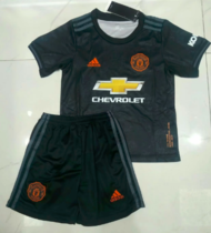 Manchester United 19/20 Kids Soccer Jersey and Short Kit - Black