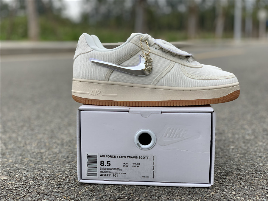 "cbecdb79ebb518 Travis Scott x Nike Air Force 1 Low ""Sail"" size 7-12 Item NO  AQ4211-101"