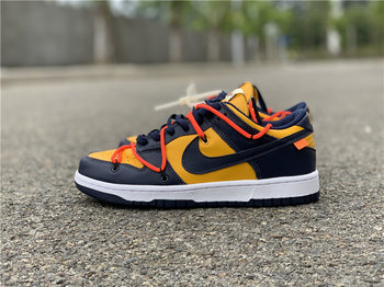 "Off-White x Nike Dunk Low ""University Gold"""
