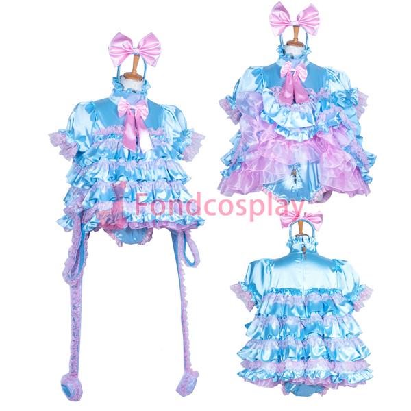5e3daf840 US$ 169.91 - French lockable adult Sissy baby Satin dress/Romper Unisex CD/TV  Tailor-made[G3853] - www.fondcosplay.com