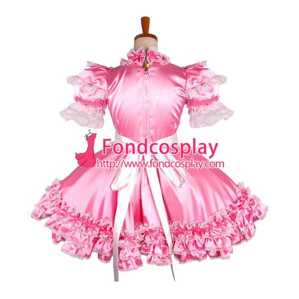 lockable Satin sissy boy maid mini dress cross dressers tailor-maid