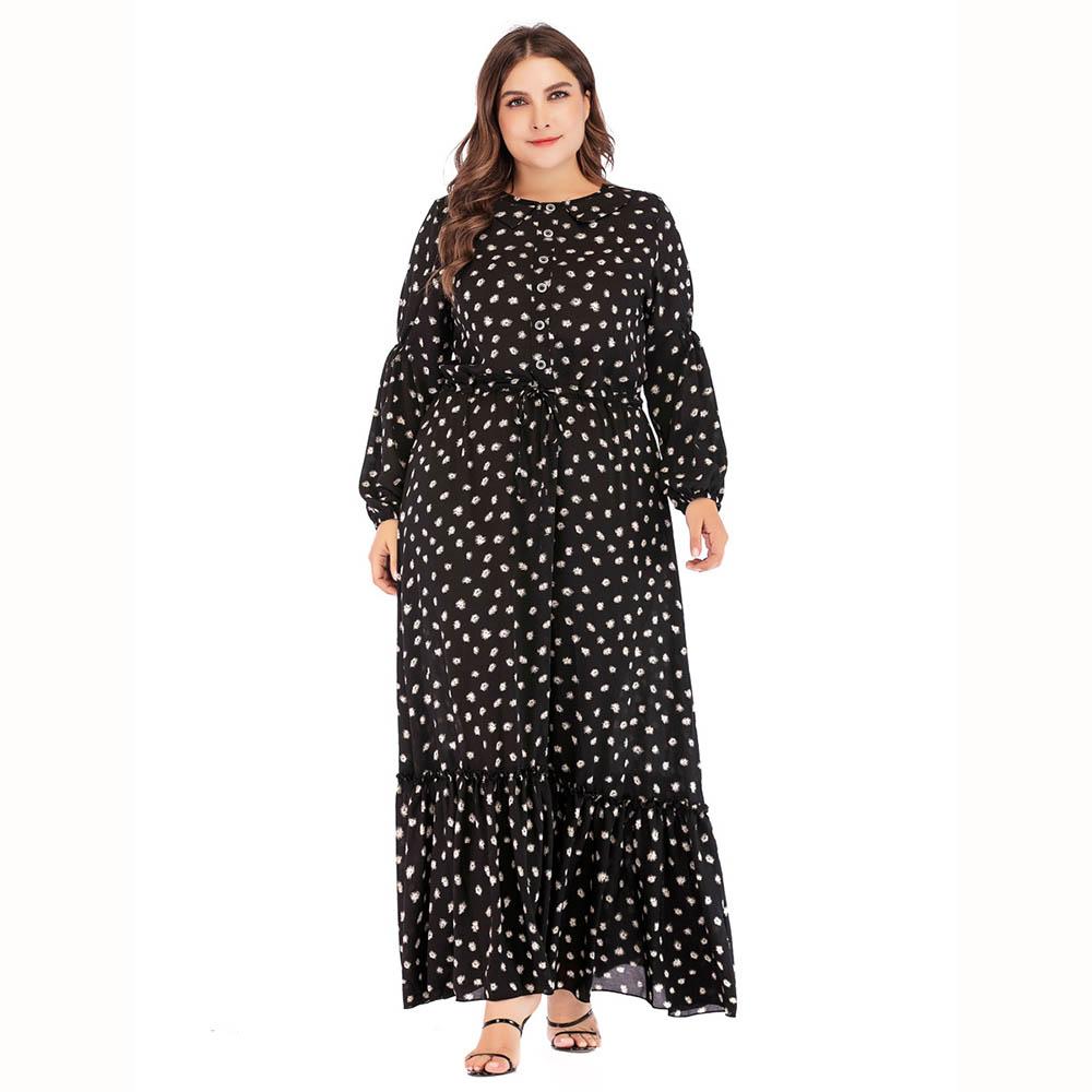 d968aecb0009 US$ 28.24 - Black Maxi Dress Button Sash O Neck Autumn Winter Print Long  Sleeve A Line Nice Female Casual Long New Dresses for Women -  www.waitshe.com