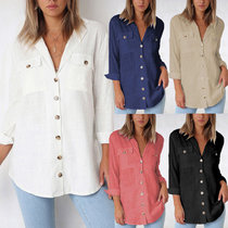 Fashion V-neck button long sleeve Blouse Shirt