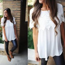 Lace lace T-shirt blouse with round collar