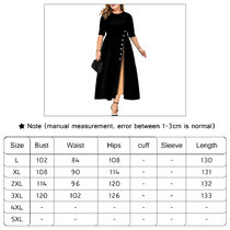 Medium-length dress with color matching and buttons