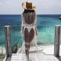Mesh embroidery and LACE BIKINI blouse