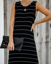 Black and white striped long dress