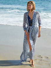 Blue Leopard Print beach dress