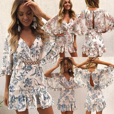 Fashion Printed Lotus Edge Dress