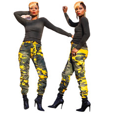 Fashion pocket lace and foot-tied camouflage trousers