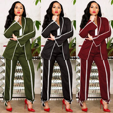Fashion Autumn and Winter Repair with Weaving Belt Small Suit 3-color Two-piece Suit
