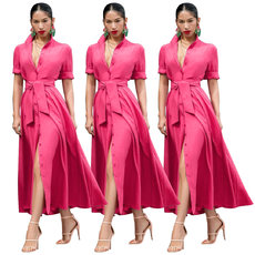 Pure-colour fashion dress with middle sleeves