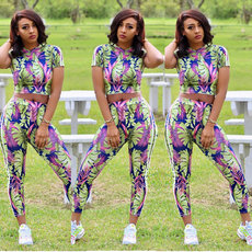 Short sleeve sports suit two-piece suit