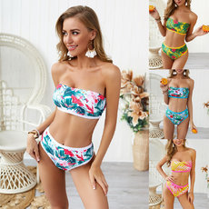 Two-piece digital printing high waist bikini