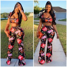 Fashion printed T-shirt and wide-legged trousers two-piece suit