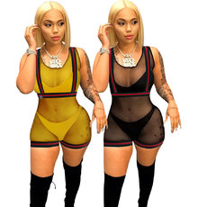 Screen Tight Stitching Perspective Jumpsuit Night Club