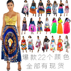 Printed pleated bright hemispherical half skirt