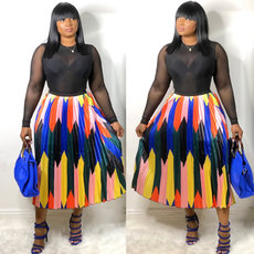 Printed pleated bright hemispherical skirt