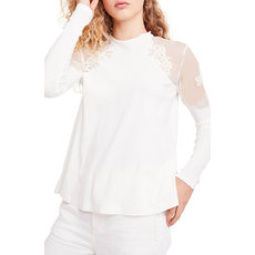 Screen lace blouse with round collar and long sleeves