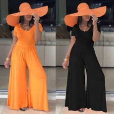 Sexy round-collar short sleeve wide-legged JUMPSUIT
